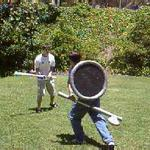 At Polycon during the summer of 2001, some of our guests get a chance to try out NERO-style boffer combat.